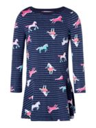 Joules Girls Stripe All Over Horse Jersey Dress