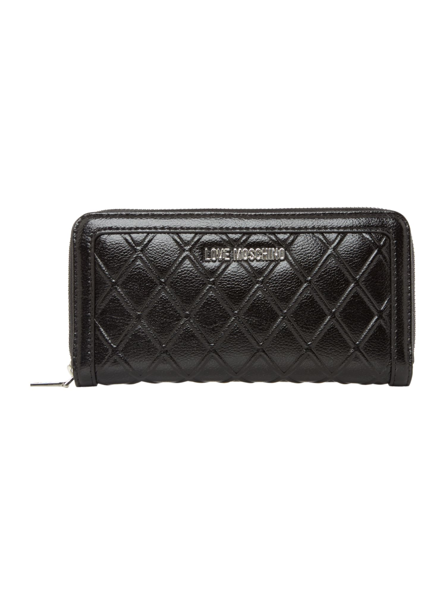 Reverse Quilted Zip Around Purse by Love Moschino