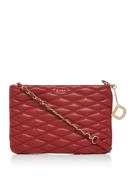 Diamond Quilted Top Zip Cross Body Bag