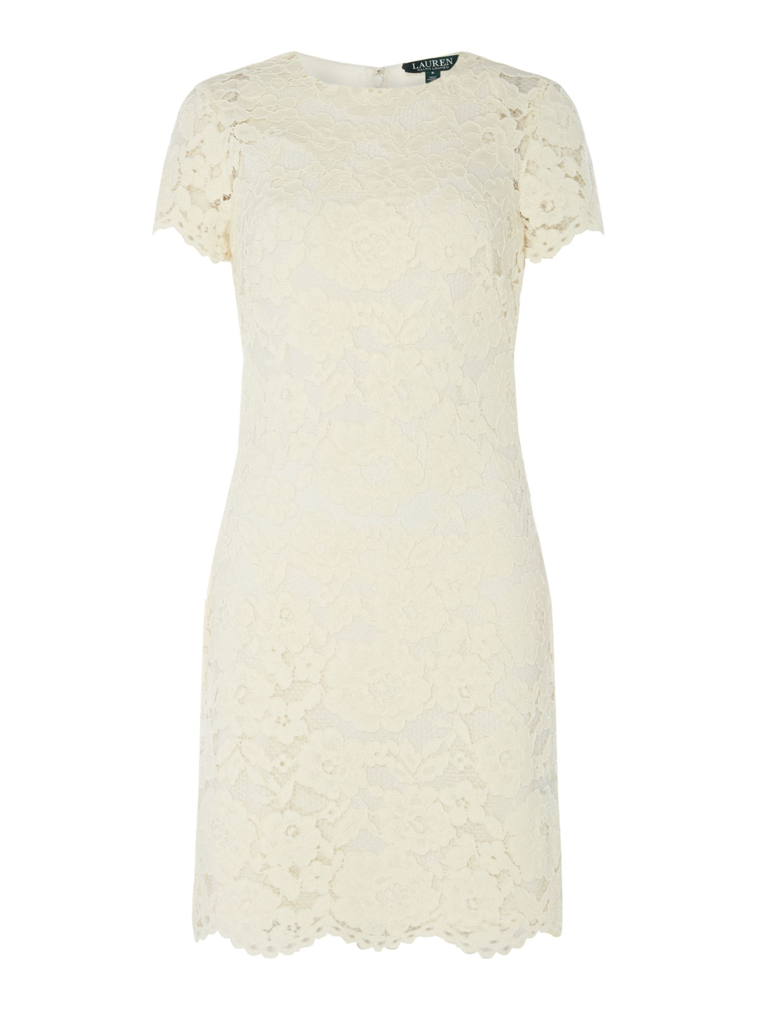 Lauren Ralph Lauren Short sleeve lace detail dress ...