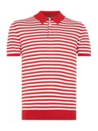 Striped Silk Mix Knitted Polo Shirt