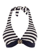 Michael Kors Striped logo ring halter bra top