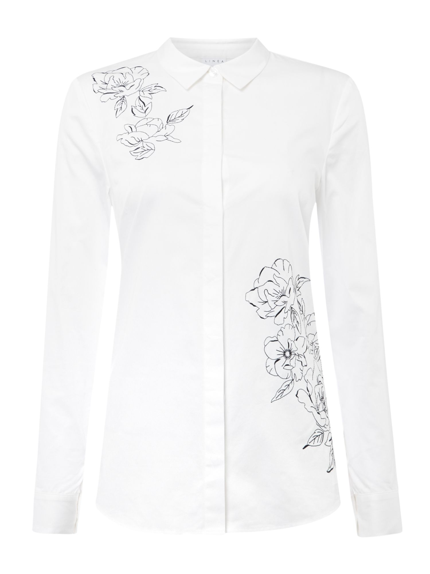 Split Back Shirt With Embroidery by Linea