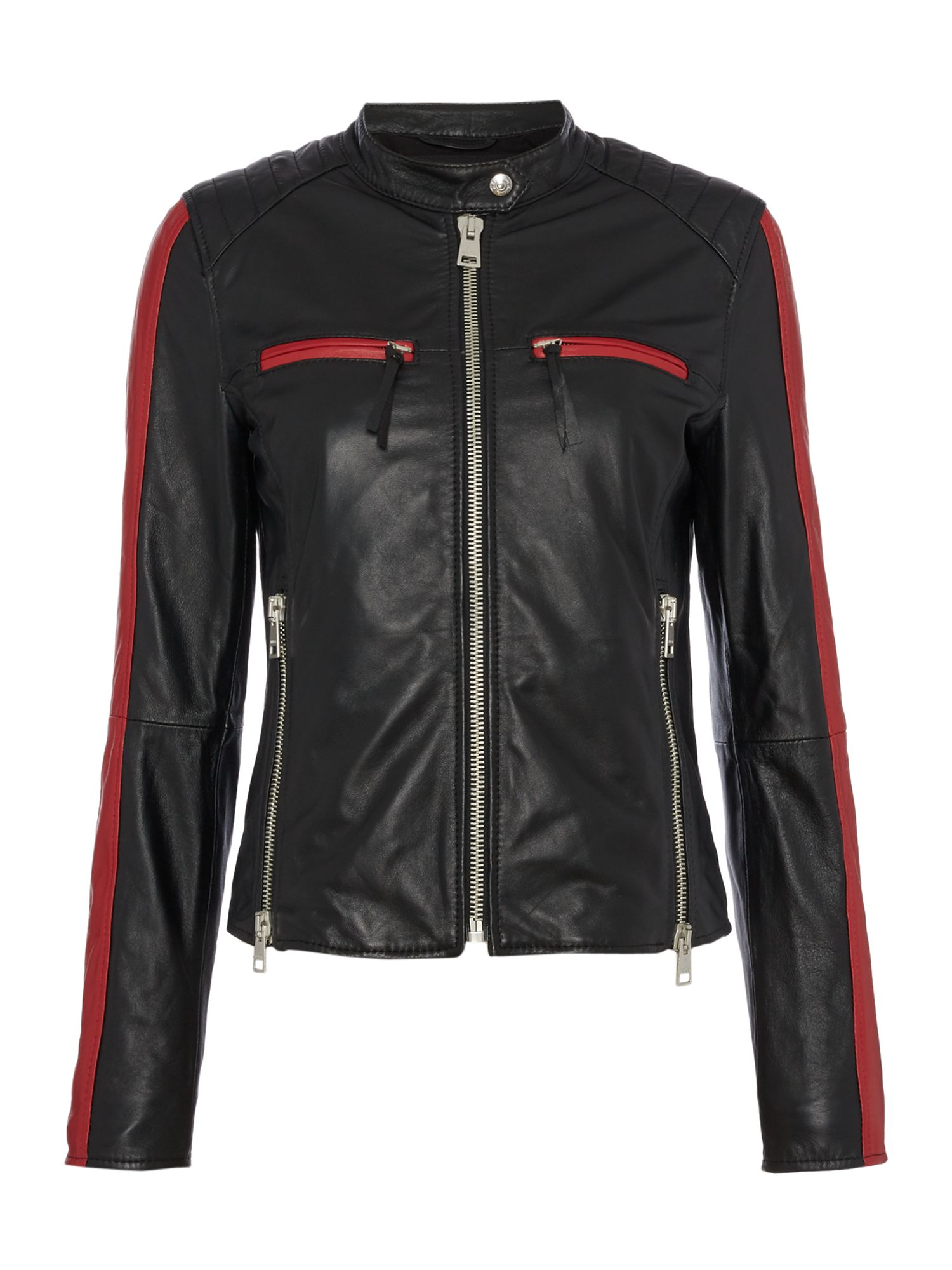 Replay Leather Jacket With Contrast Details, Black