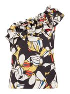 ISSA Aimee toucan print one shoulder top