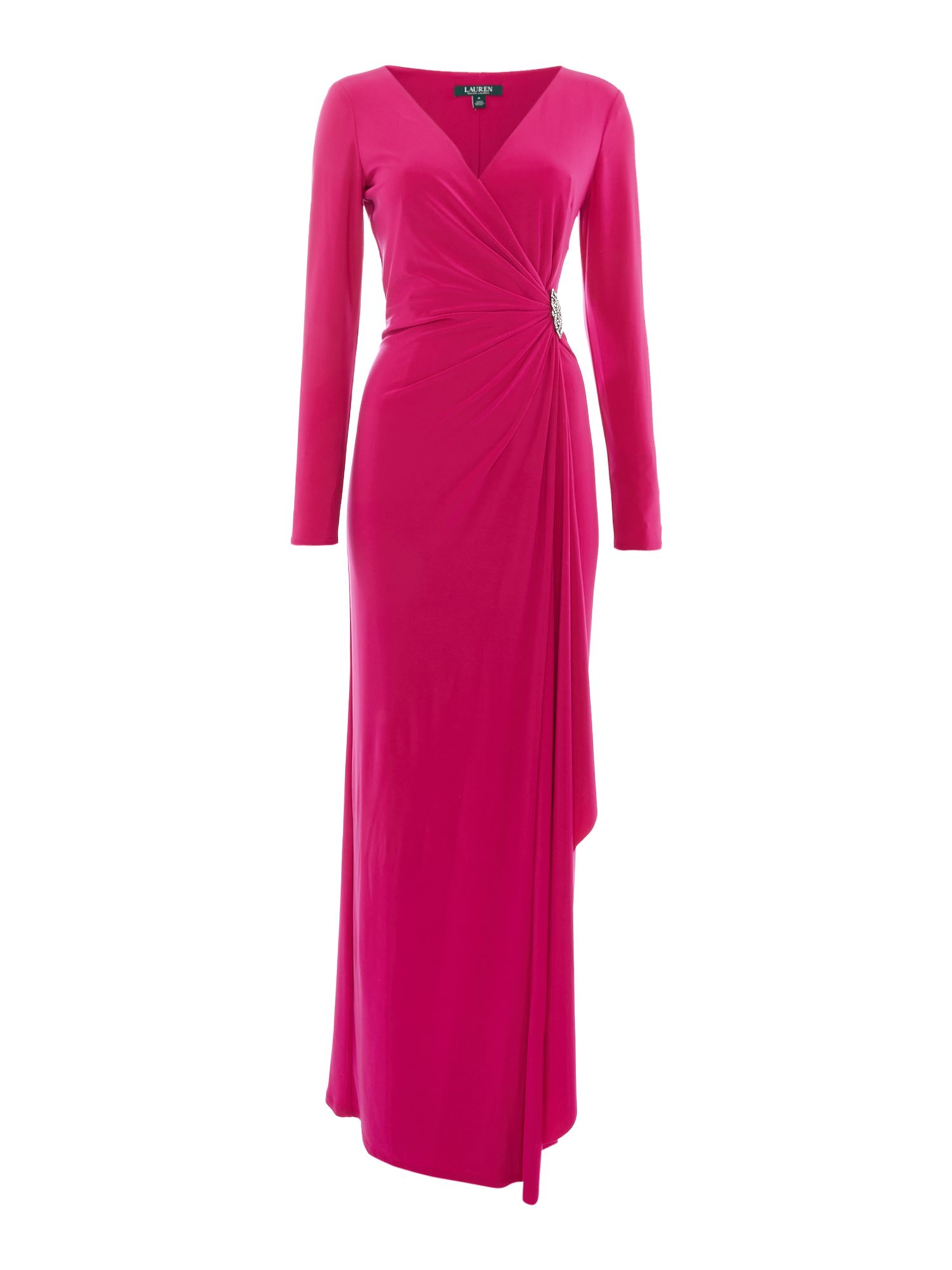 Lauren Ralph Lauren Long sleeved jersey gown ...