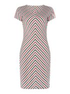 Barbour Short Sleeve Chevron Striped Whitmore Dress