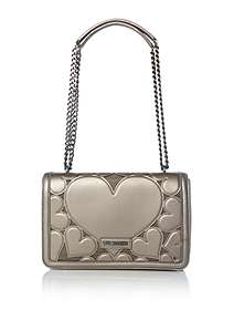 Love Moschino Metallic Around Medium Flapover Shoulder Bag