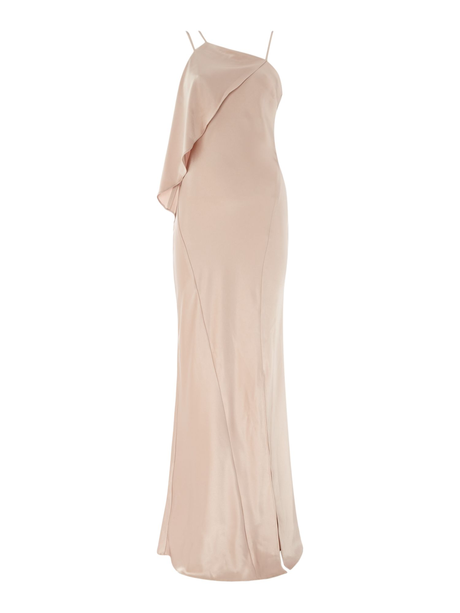 Outline Strappy gown with ruffle detail, Pink