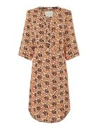 Lollys Laundry Floral dress with orange contrast