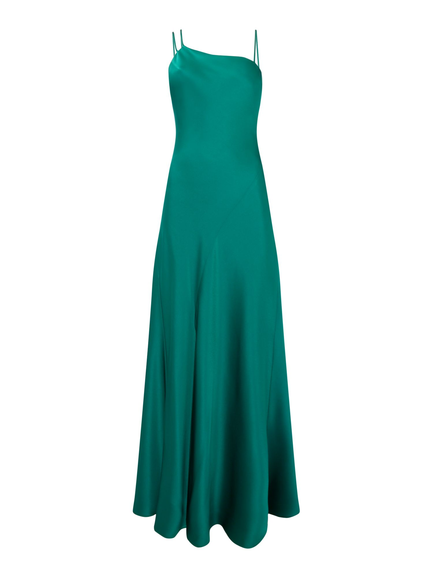 Outline Strappy satin gown, Green