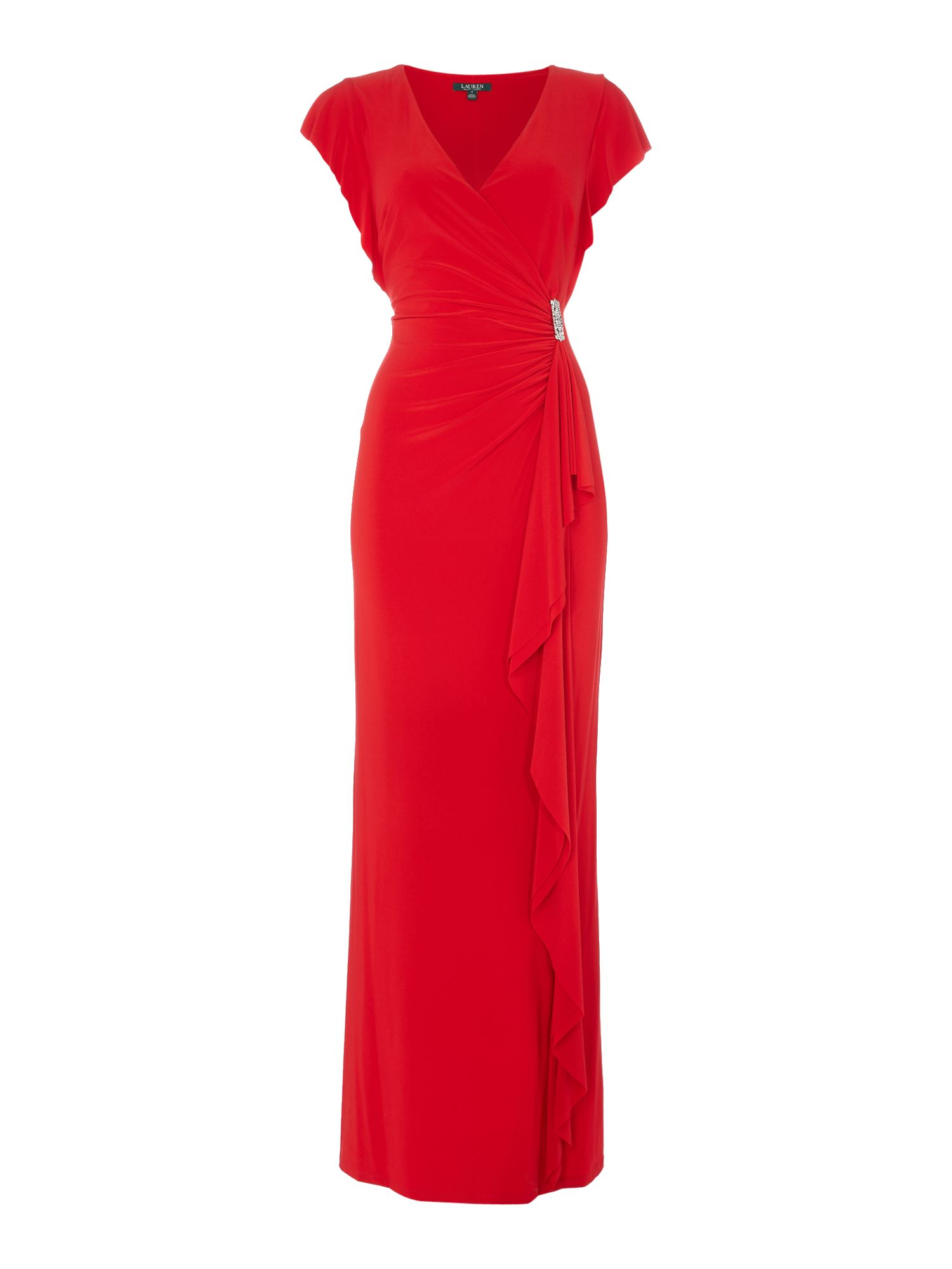 Lauren Ralph Lauren Cap sleeve gown with gathered side ...