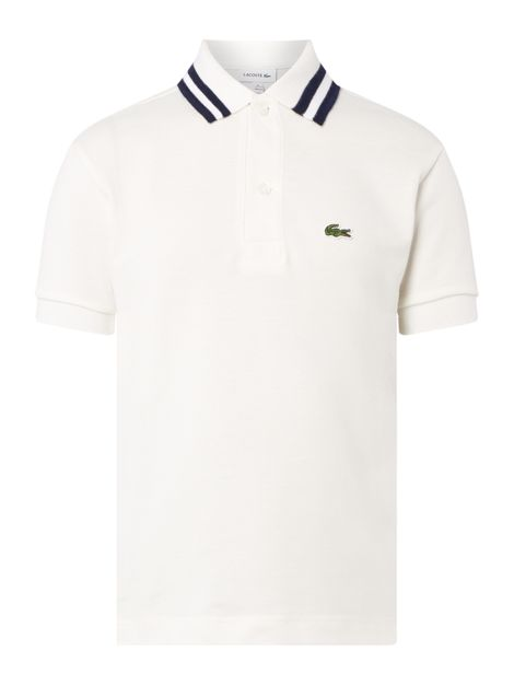 Boys Pique Tipped Small Croc Short Sleeve Polo by Lacoste
