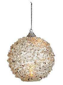 premier decorations silver glitter bauble with led light