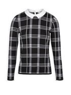 Checked Top With Peter Pan Collar