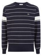Men's Lacoste Crew Neck Contrast Bands Striped Milano