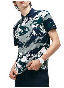 7636cf8e2 ... Lacoste Regular Fit Alpine Print Mini Pique Polo Shirt