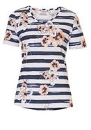 Floral And Stripe Print T-shirt