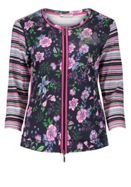 Betty Barclay Floral And Stripe Print Cardigan