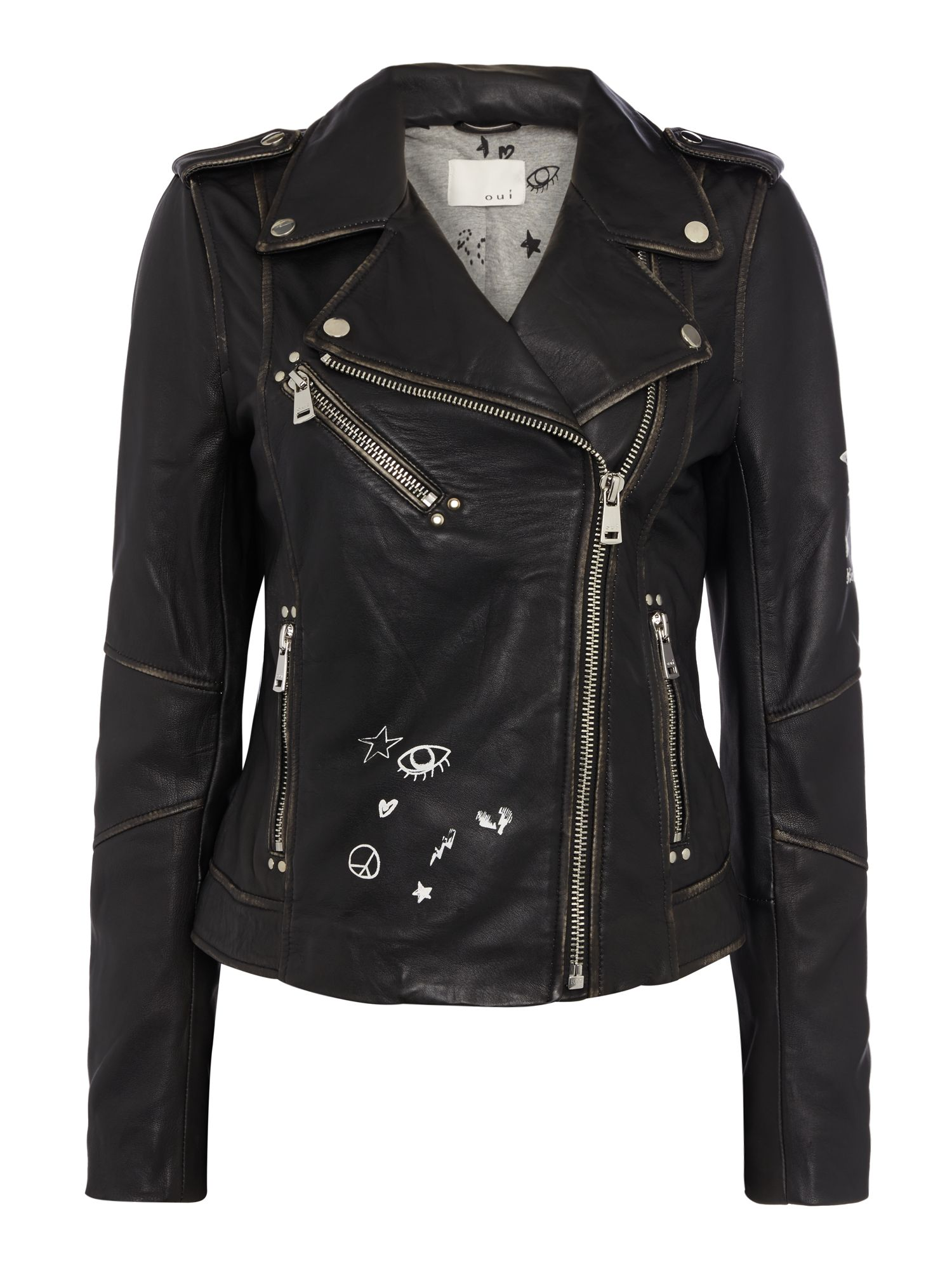 Oui Rock n roll printed leather jacket, Black