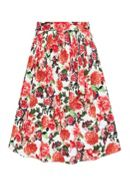 Hallhuber Floral midi skirt with self-tie belt
