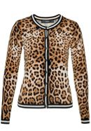 Leopard Print Cardigan With Stripe Cuffs