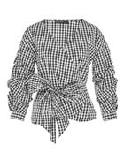 Hallhuber Wrap Gingham Blouse