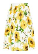 Hallhuber Pleat Skirt With Sunflower Print