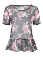 Jane Norman Floral Mesh Peplum Top