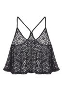 Jane Norman Black Crochet Swing Top