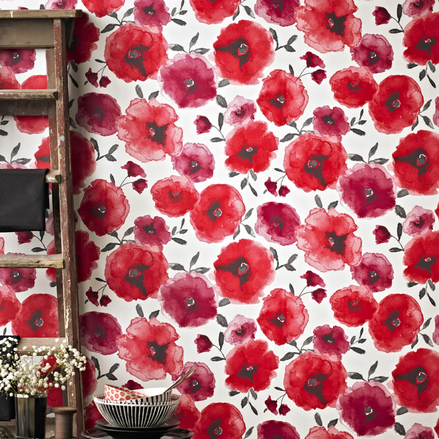 Graham & Brown Red Poppies Wallpaper House of Fraser
