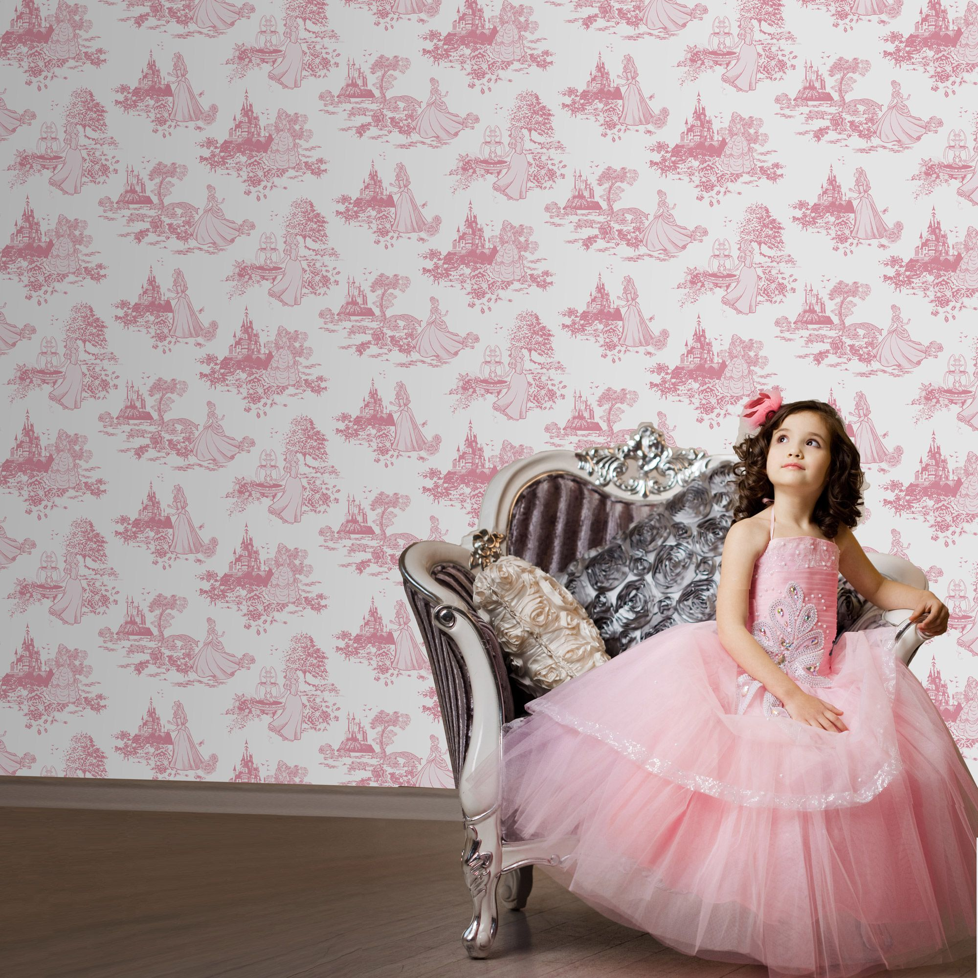 Graham Brown Pink Disney Princess Toile Wallpaper