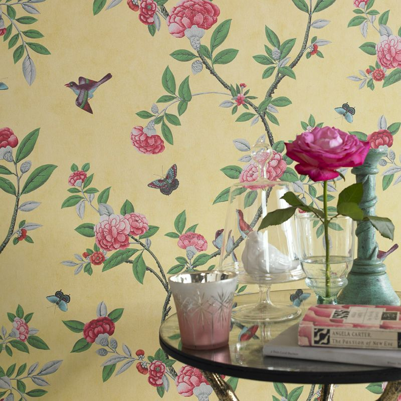 Graham Brown Imperial Yellow Chinoiserie Wallpaper