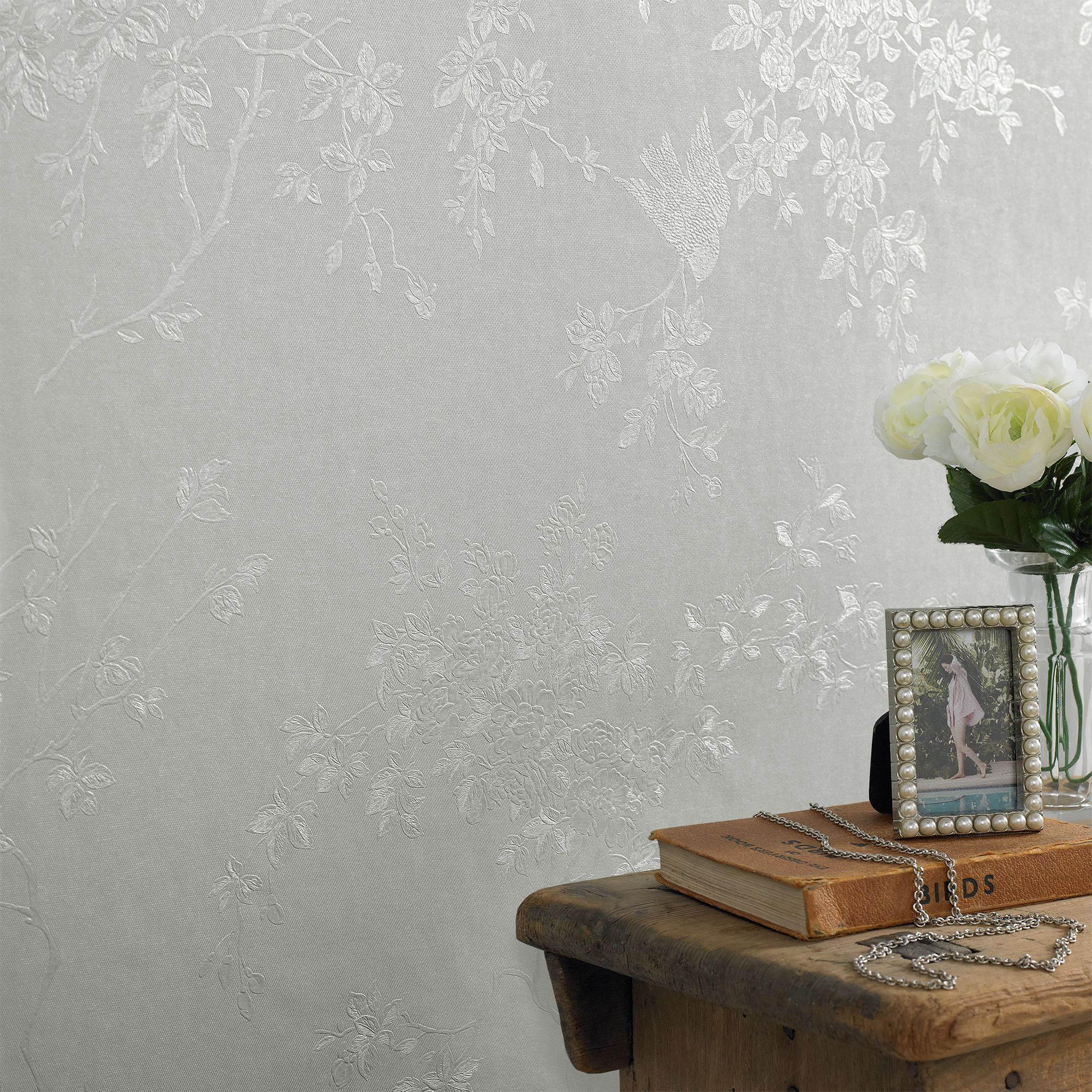 Graham Brown Silver Mist Spring Blossom Wallpaper