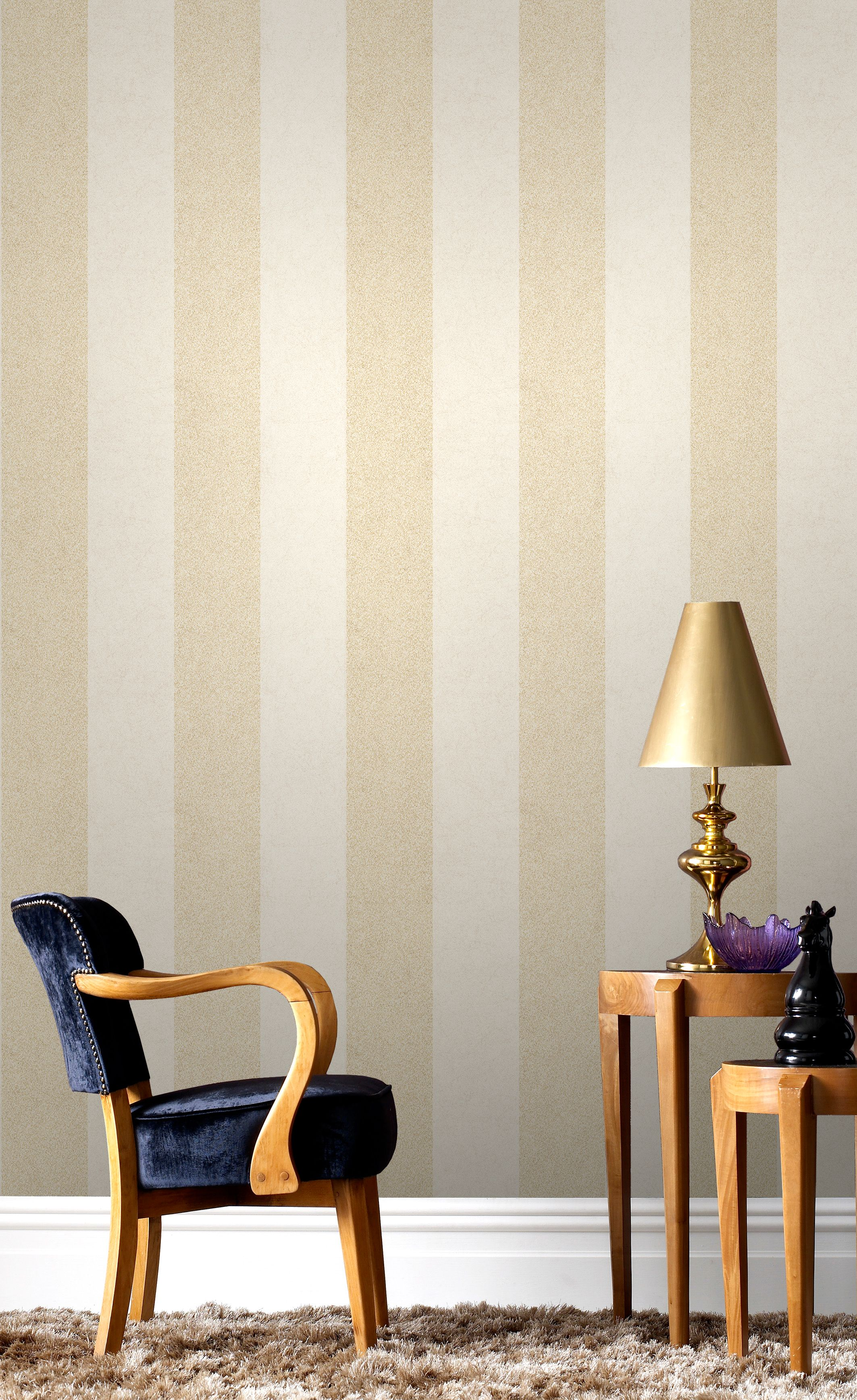 Cream Striped Wallpaper Living Room Living Room