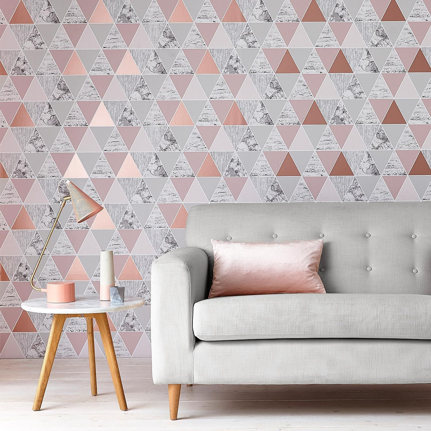 Graham Brown Rose Gold Reflections Geometric Wallpaper House Of