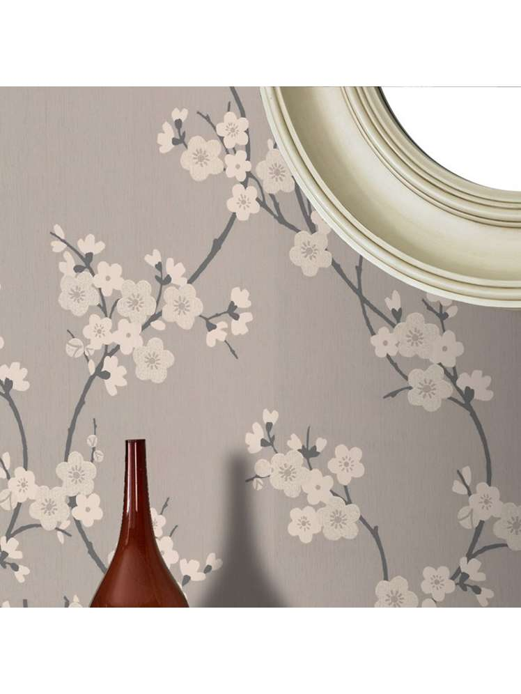 Graham Brown Taupe Charcoal Cherry Blossom Wallpaper