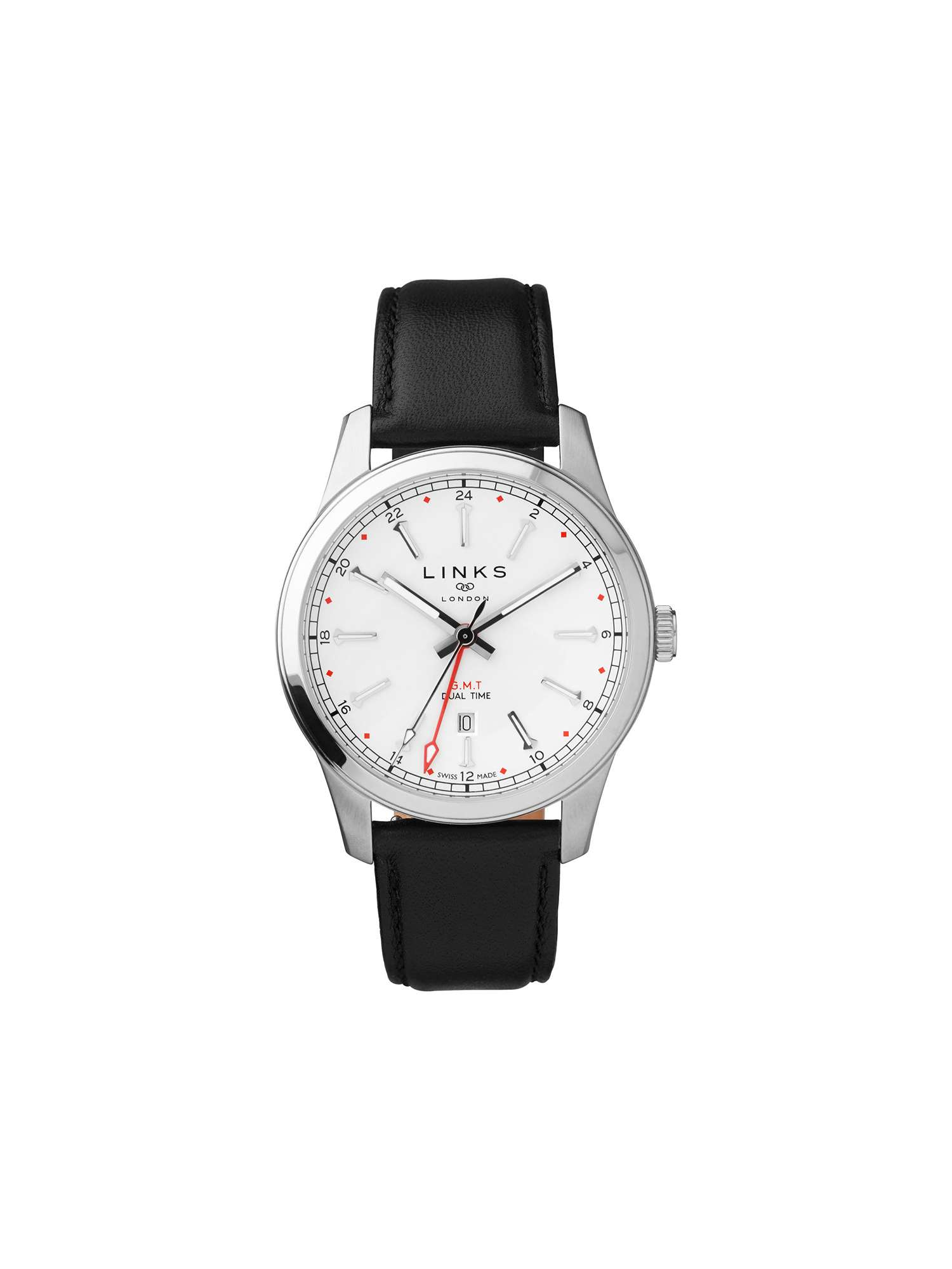 Links of London Greenwich Gmt Mens Black Leather Watch ...