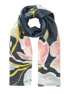 Jigsaw Graphic Rose Silk Scarf