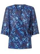 Jigsaw Midnight Garden Wrap Blouse