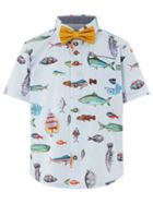 Monsoon Boys Jack Fish Print Shirt And Bow
