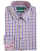 Men's Double TWO Checked Bushed Cotton Formal Shirt