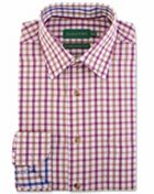 Men's Double TWO Checked 100 Brushed Cotton Shirt