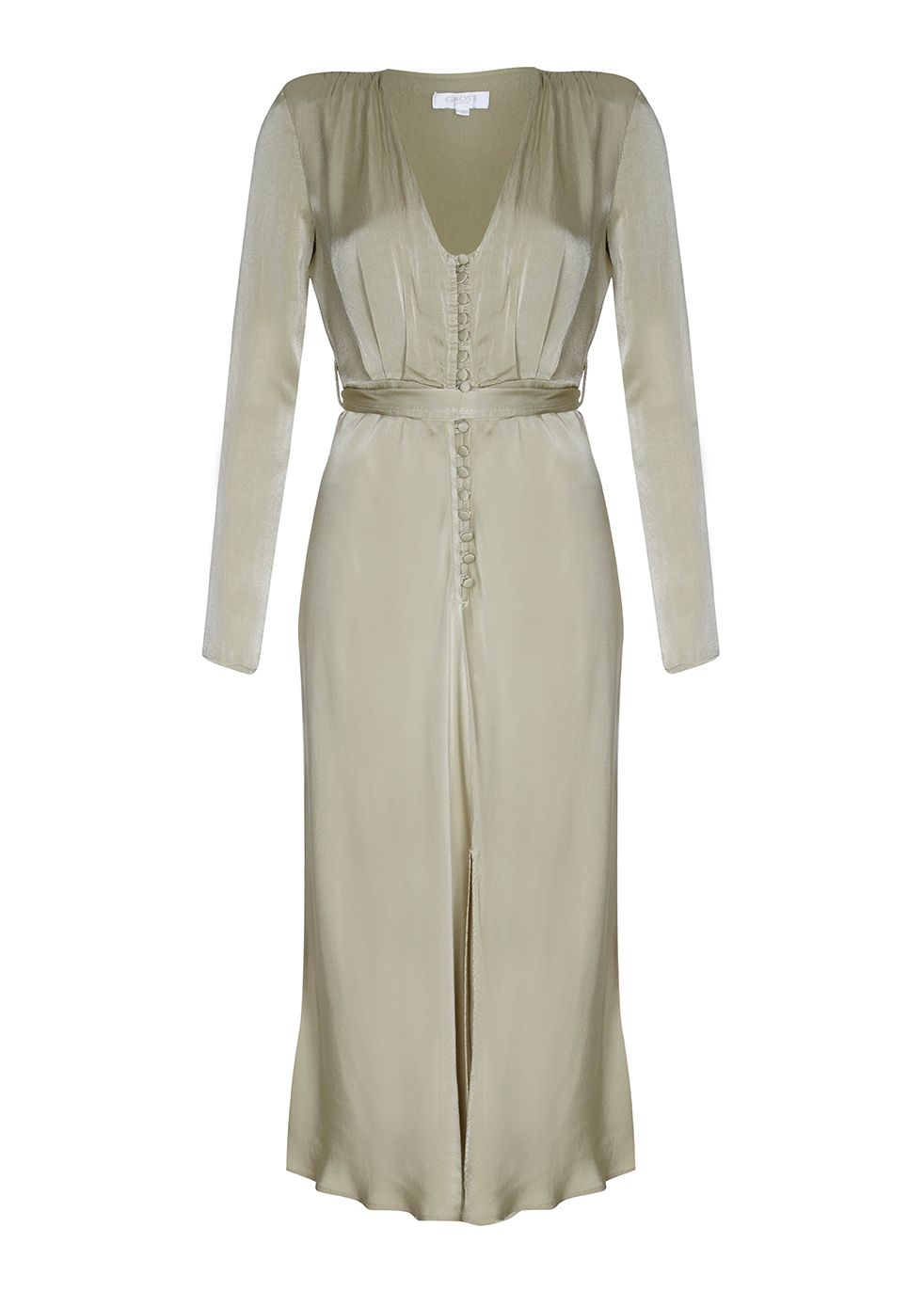 1940s Evening, Prom, Party, Cocktail Dresses & Ball Gowns Ghost Meryl Dress Lint Green £165.00 AT vintagedancer.com