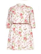 Yumi Curves Floral Print Belt Dress