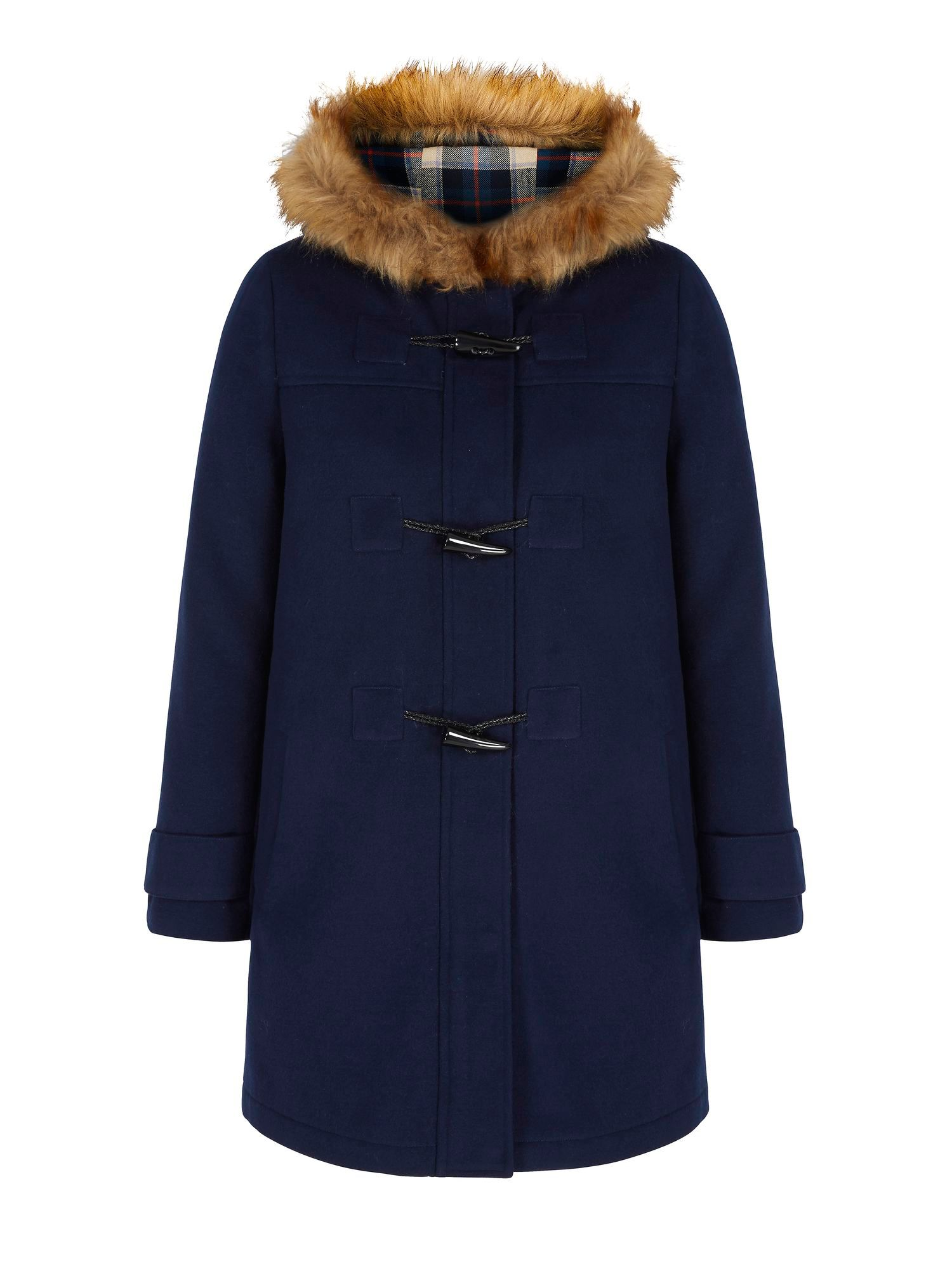 Yumi Faux Fur Hood Duffle Coat - House of Fraser