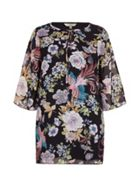 Yumi Curves Floral Print Smock Dress