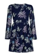 Navy Floral Print Dress With Long Sleeves