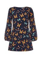 Navy Shift Dress With Butterfly Spot Print