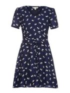 Navy Pug Printed Dress